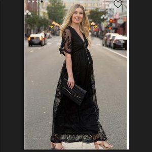 Lace Mesh Overlay Maternity Maxi Dress NWOT